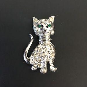 Clear Crystal Rhinestone & Silver Tone Cat Brooch